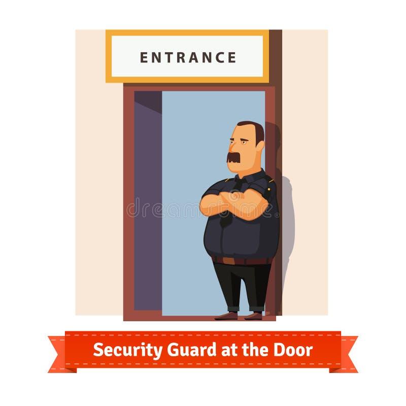 Guardia giurata o buttafuori che lavora alla porta illustrazione vettoriale