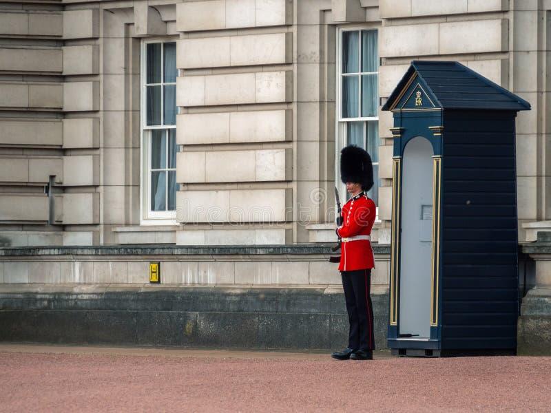 Guardia ingl?s que patrulla en el Buckingham Palace foto de archivo libre de regalías