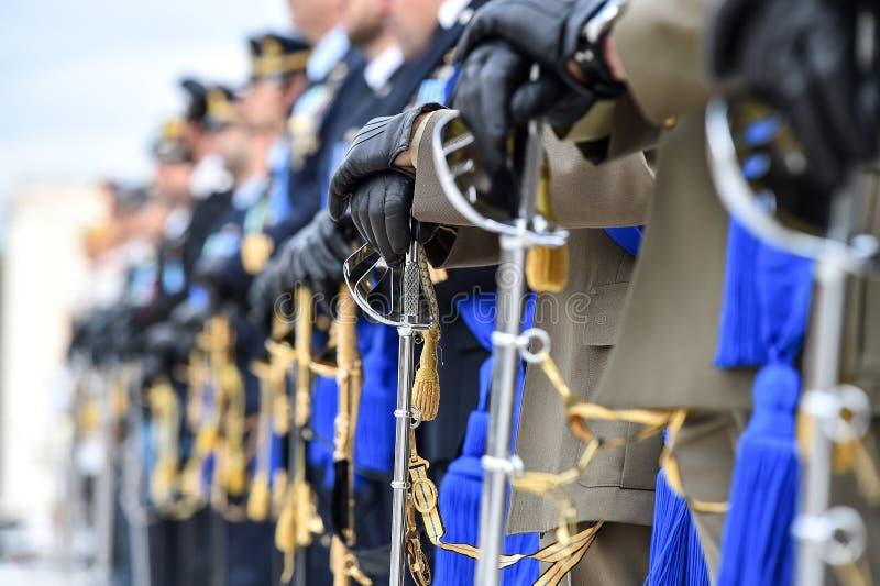 Guardia Nacional italiano del honor durante una ceremonia agradable foto de archivo