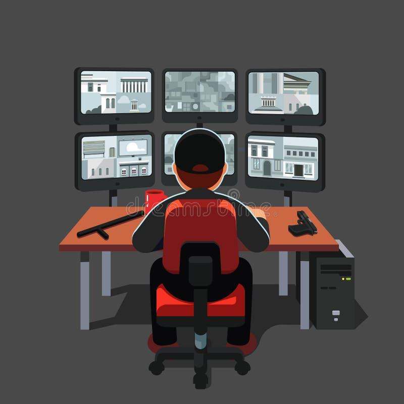 Guardia notturna che si siede al video del monitoraggio della stanza di sicurezza illustrazione vettoriale