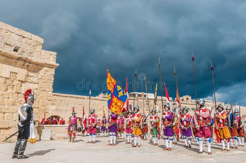 In Guardia-Parade an Kavalier St. Jonhs in Birgu, Malta lizenzfreies stockbild