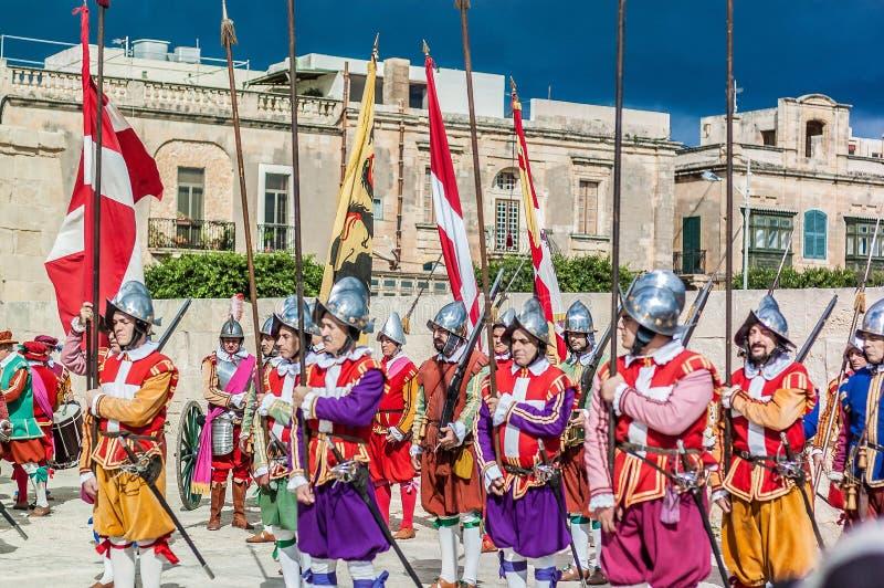 In Guardia-Parade an Kavalier St. Jonhs in Birgu, Malta lizenzfreie stockfotos