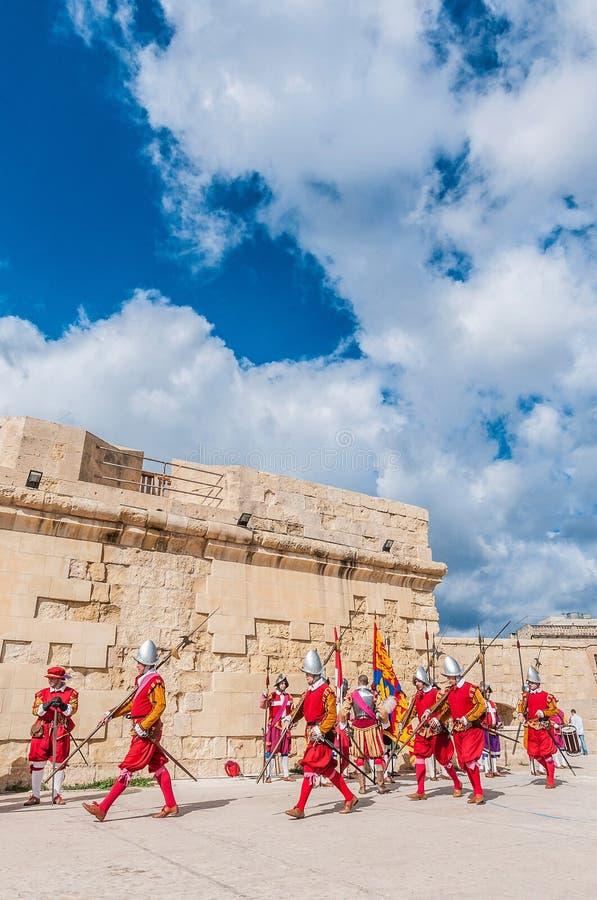 In Guardia Parade at St. Jonh's Cavalier in Birgu, Malta. stock photo