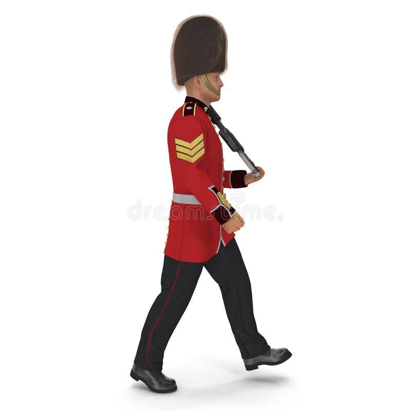 Guardia reale britannica in marcia Holding Gun Isolated sull'illustrazione bianca del fondo 3D illustrazione di stock