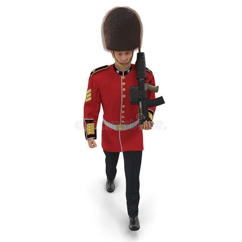 Guardia reale britannica in marcia Holding Gun Isolated sull'illustrazione bianca del fondo 3D illustrazione vettoriale