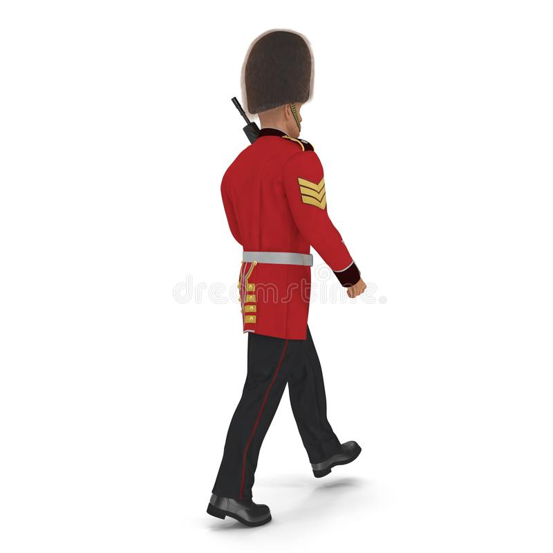 Guardia reale britannica in marcia Holding Gun Isolated sull'illustrazione bianca del fondo 3D royalty illustrazione gratis