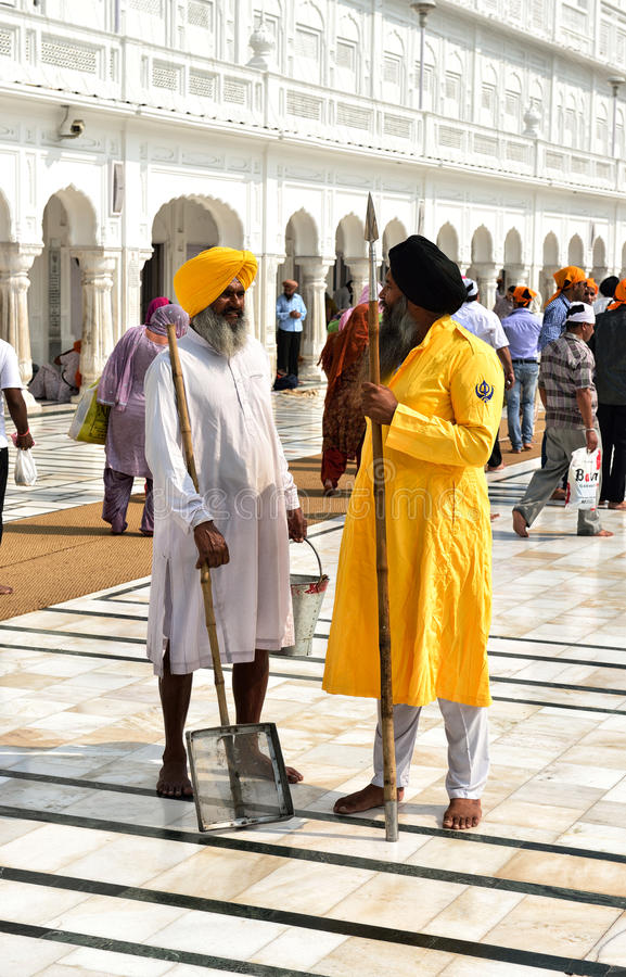 Guardia sikh y hombre sikh de la limpieza imágenes de archivo libres de regalías