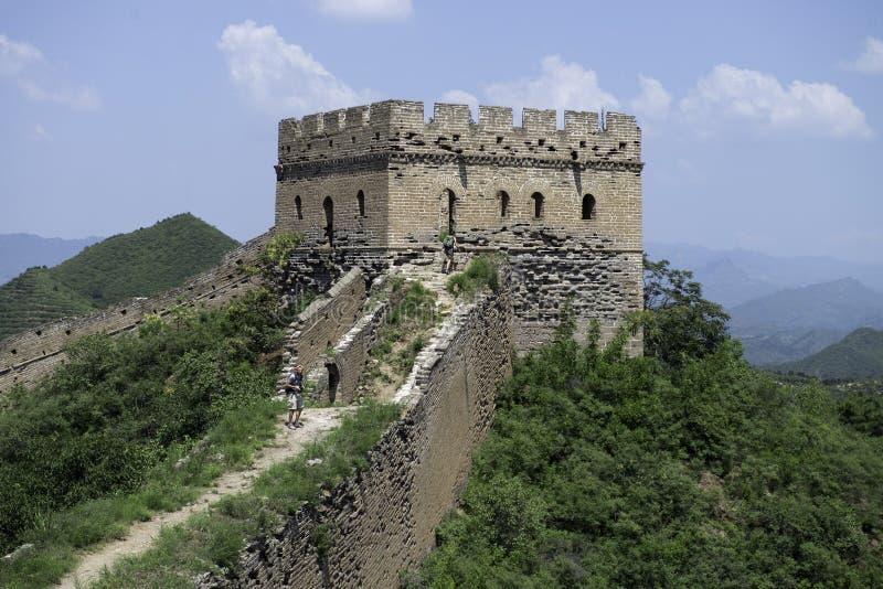 Guardia Tower di Mutianyu, una sezione della fortezza della grande muraglia della Cina durante l'estate r fotografia stock
