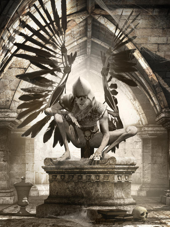 Guardian of an ancient crypt. Gloomy scene with old crypt and creepy angel royalty free illustration