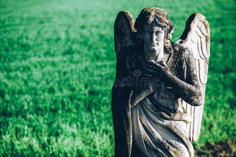 Guardian angel over green field background religions and cultures - intentional filtered image style stock photo