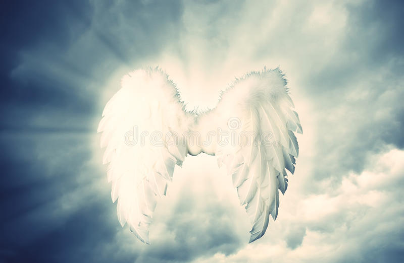 Guardian Angel white wings over dramatic grey with light. royalty free stock images