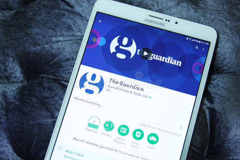 The Guardian app móvel imagem de stock