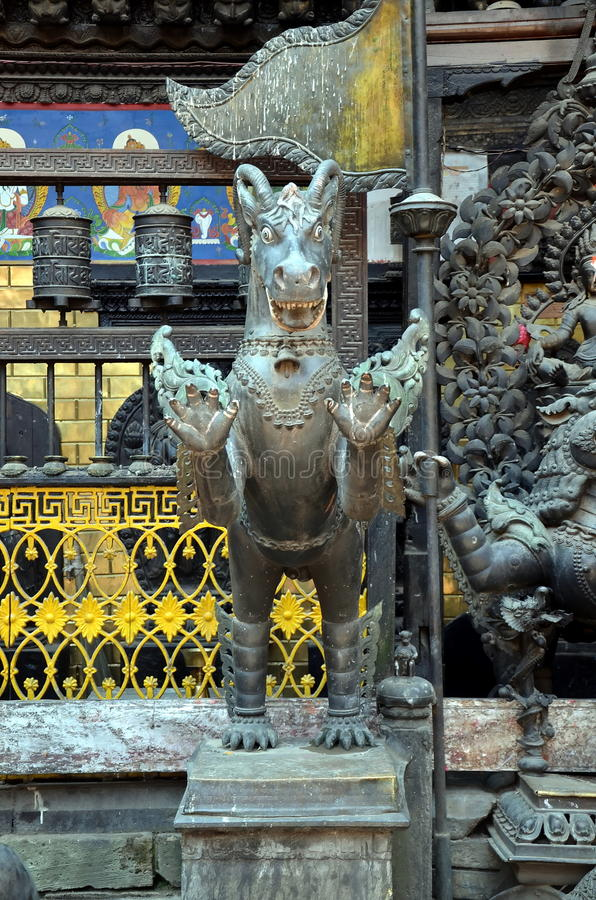 The guardian of the Buddhist teachings. In Nepal stock photo