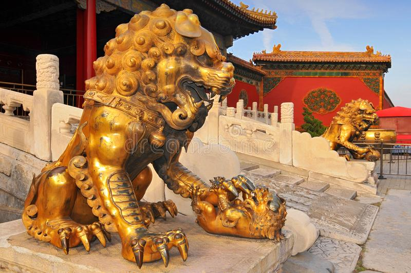 Guardian Lions in front of The Three Great Halls Palace. Forbidden City. Beijing. China.  stock photo
