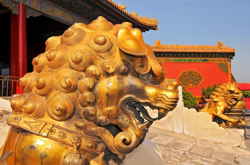 Guardian Lions in front of The Three Great Halls Palace. Forbidden City, Beijing. China.  royalty free stock image