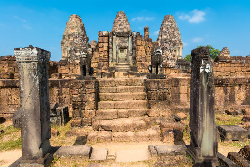 Guardian lions statues at Easten Mebon, Cambodia royalty free stock photo