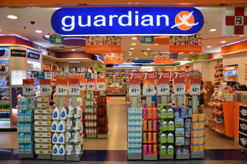 Guardian pharmacy retain shop located in Singapore. SINGAPORE - 05 OCT, 2014: Guardian pharmacy retail shop located in Singapore. Guardian operates Singapore royalty free stock photo