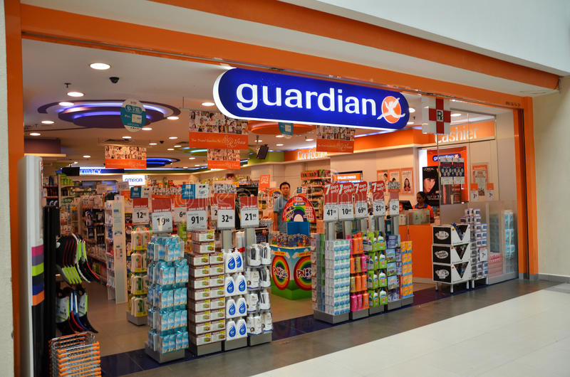 Guardian pharmacy retain shop located in Singapore. SINGAPORE - 05 OCT, 2014: Guardian pharmacy retail shop located in Singapore. Guardian operates Singapore stock photo
