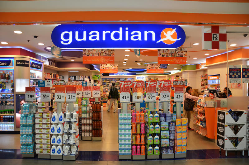 Guardian pharmacy retain shop located in Singapore. SINGAPORE - 05 OCT, 2014: Guardian pharmacy retail shop located in Singapore. Guardian operates Singapore stock photos
