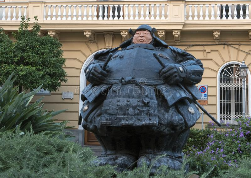 Guardian Samurai statue by Matteo Pugliese, Sant`Antonino Square, Sorrento stock photos
