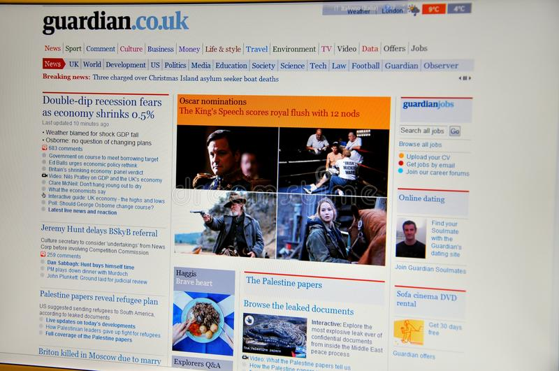 The Guardian website. The Guardian is a British national daily newspaper owned by the Guardian Media Group. Founded in 1821, it is unique among major British royalty free stock image
