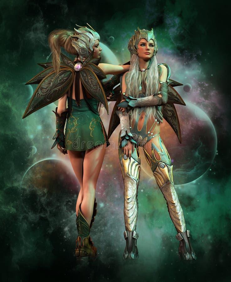 Guardiani del metallo di spazio cosmico, 3d CG illustrazione vettoriale