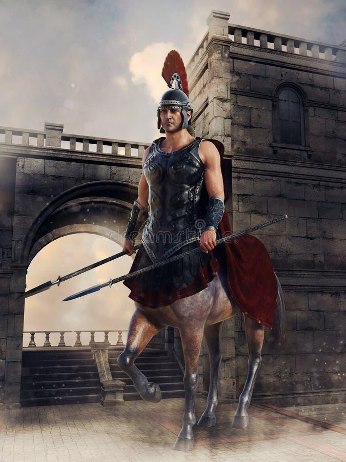 Guardiano del centauro davanti ad un portone royalty illustrazione gratis