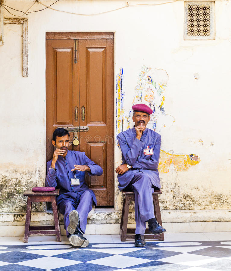 Guardians inside the City Palace of Udaipur have a rest royalty free stock images