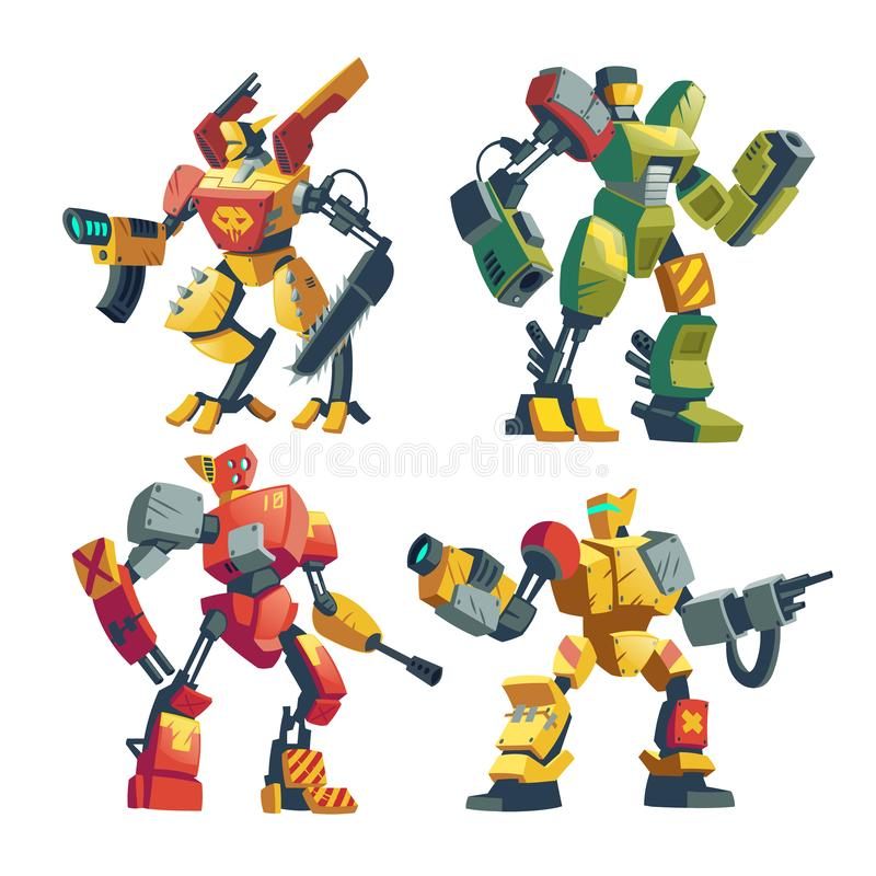 Guardias del robot de la historieta del vector, androides futuristas de la batalla libre illustration