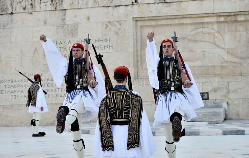 Guardias presidenciales griegos imagen de archivo libre de regalías