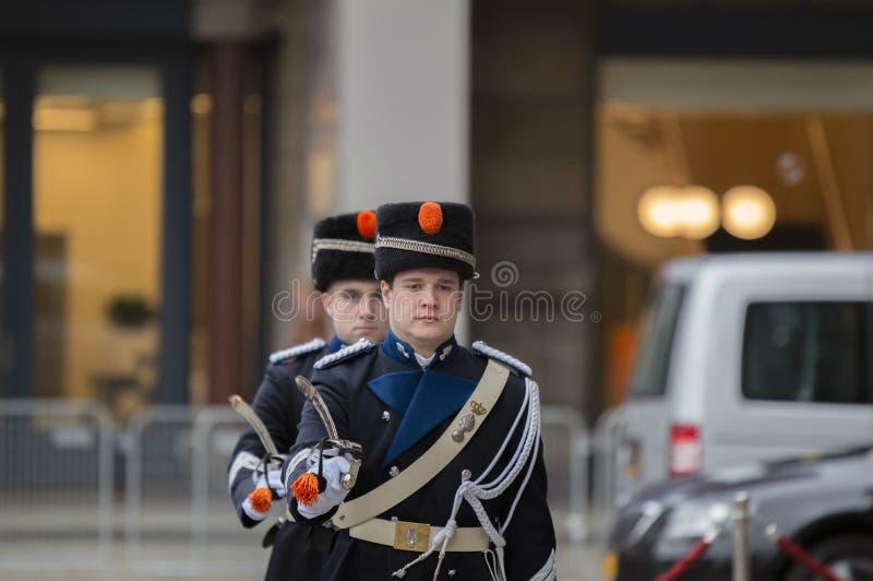 Guardie che cambiano alla ricezione dei nuovi anni dal re Of The Netherlands 2019 fotografie stock libere da diritti