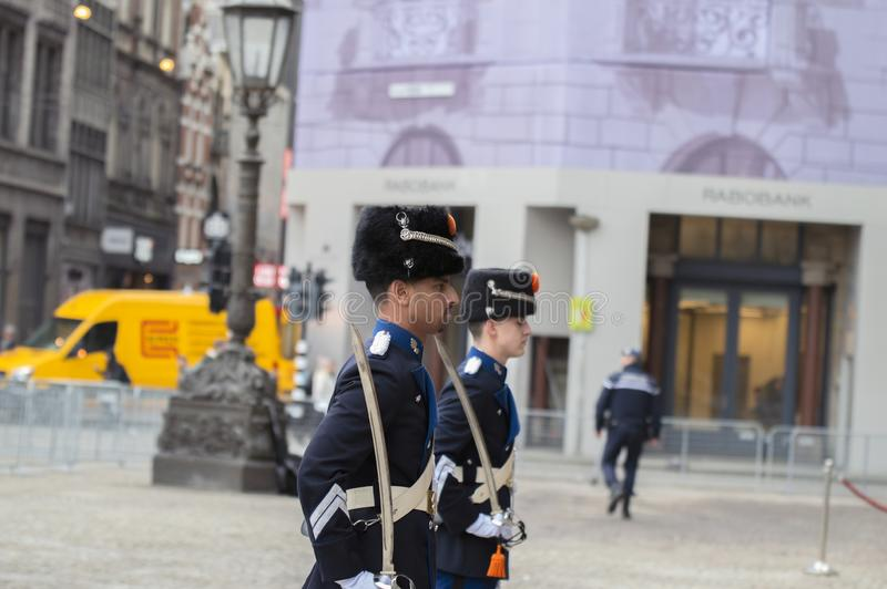 Guardie che cambiano alla ricezione dei nuovi anni dal re Of The Netherlands 2019 fotografia stock libera da diritti
