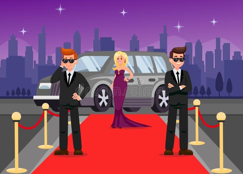 Guardie del corpo e personaggi dei cartoni animati femminili della celebrità illustrazione di stock