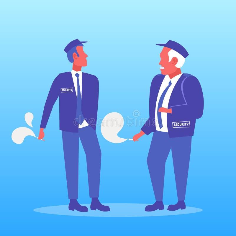 Guardie giurate delle coppie che fumano gli uomini non sani di concetto due di stile di vita della sigaretta in uniforme che ha r illustrazione vettoriale