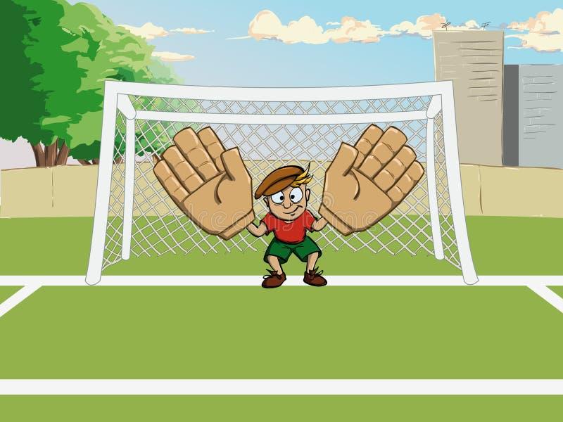 Guardien de but du football à la porte illustration libre de droits
