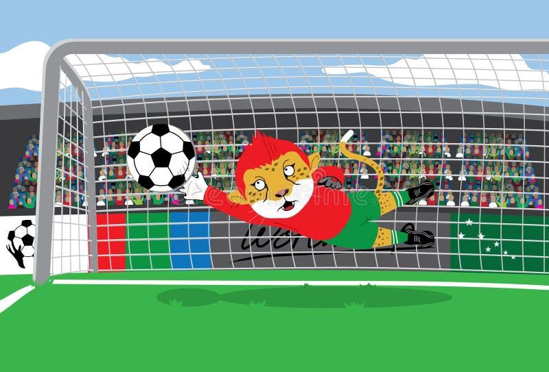 Guardien de but du football de mascotte illustration stock