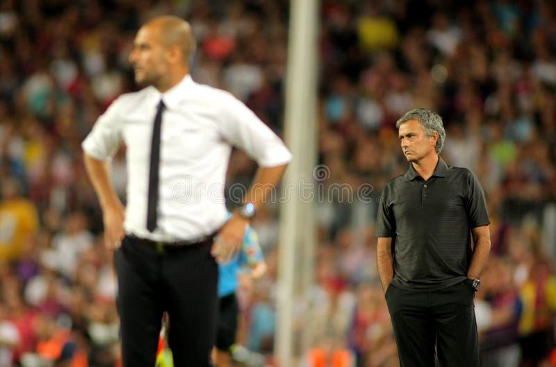 Guardiola et Mourinho photo libre de droits