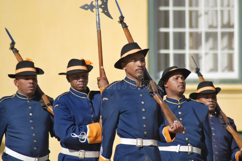 Guards changing. CAPE TOWN SOUTH AFRICA MAY 21 2007: Guards changing a the Castle of Good Hope is a star fort built in the 17th century it is considered the best stock image