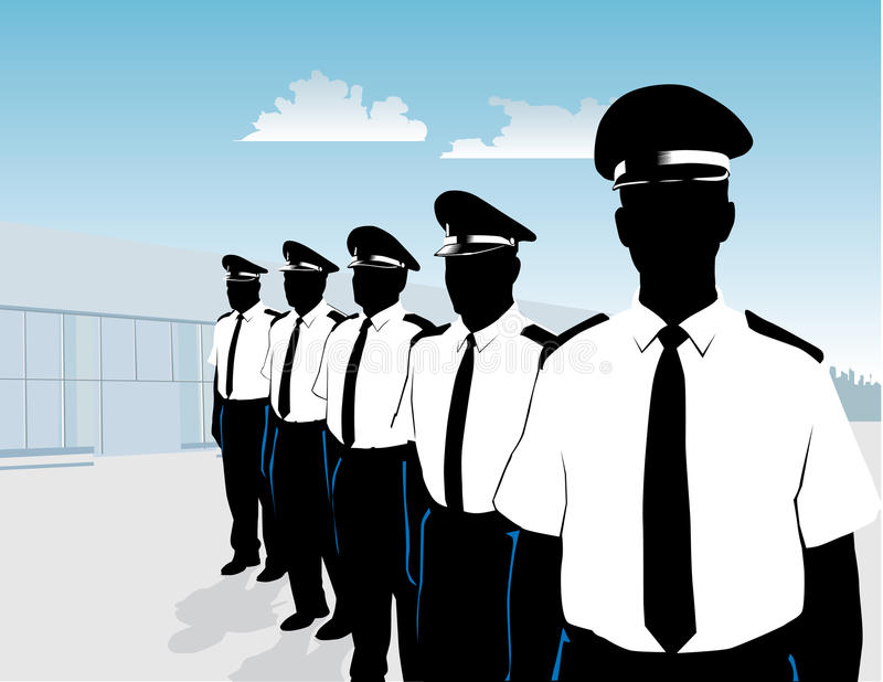 Guards in formation stock illustration
