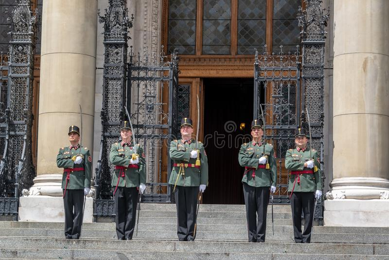 Guards in front of Hungarian Parliament stock images