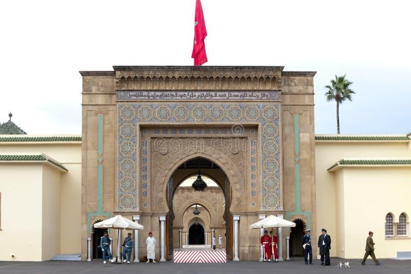 Royal Palace Rabat, Guards in front of Royal Palace Rabat, Morocco stock photo