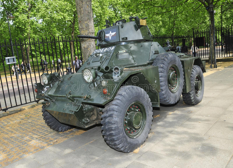 Guards Museum in London, United Kingdom. LONDON, UNITED KINGDOM Armoured car outside of Guards Museum in London, UK. It is located in Wellington Barracks close stock images