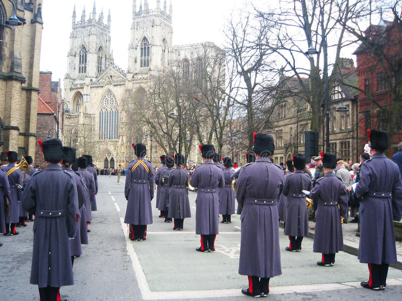 Guards on parade in York, England.