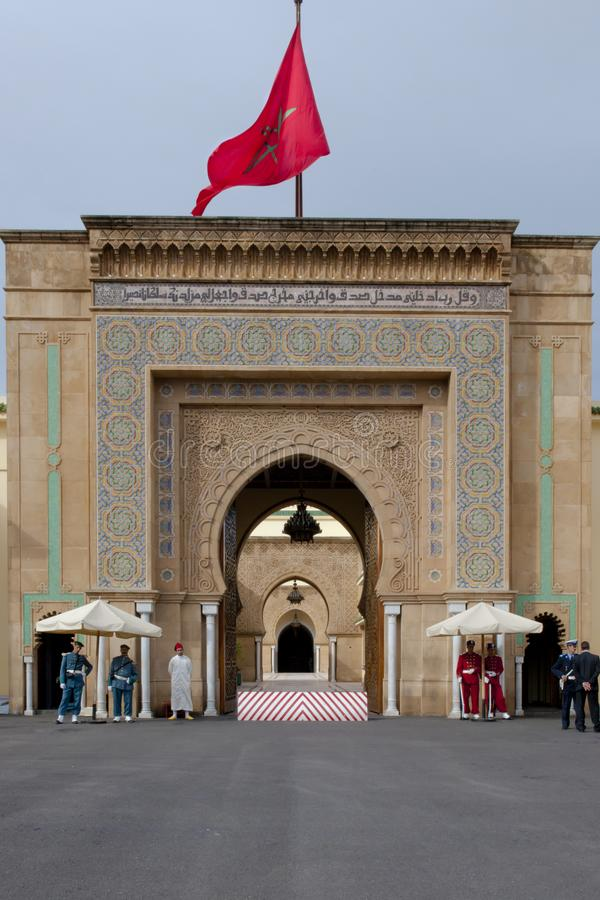 Guards in front of flagged Royal Palace Rabat, Morocco royalty free stock photo