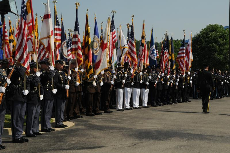 Guardsfrom d'honneur de police dans tout le pays à un enterrement de police photos stock