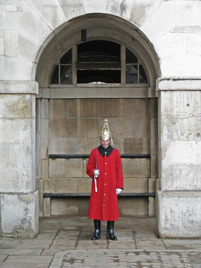 Guardsman. In red uniform at Admiralty house in London royalty free stock photos