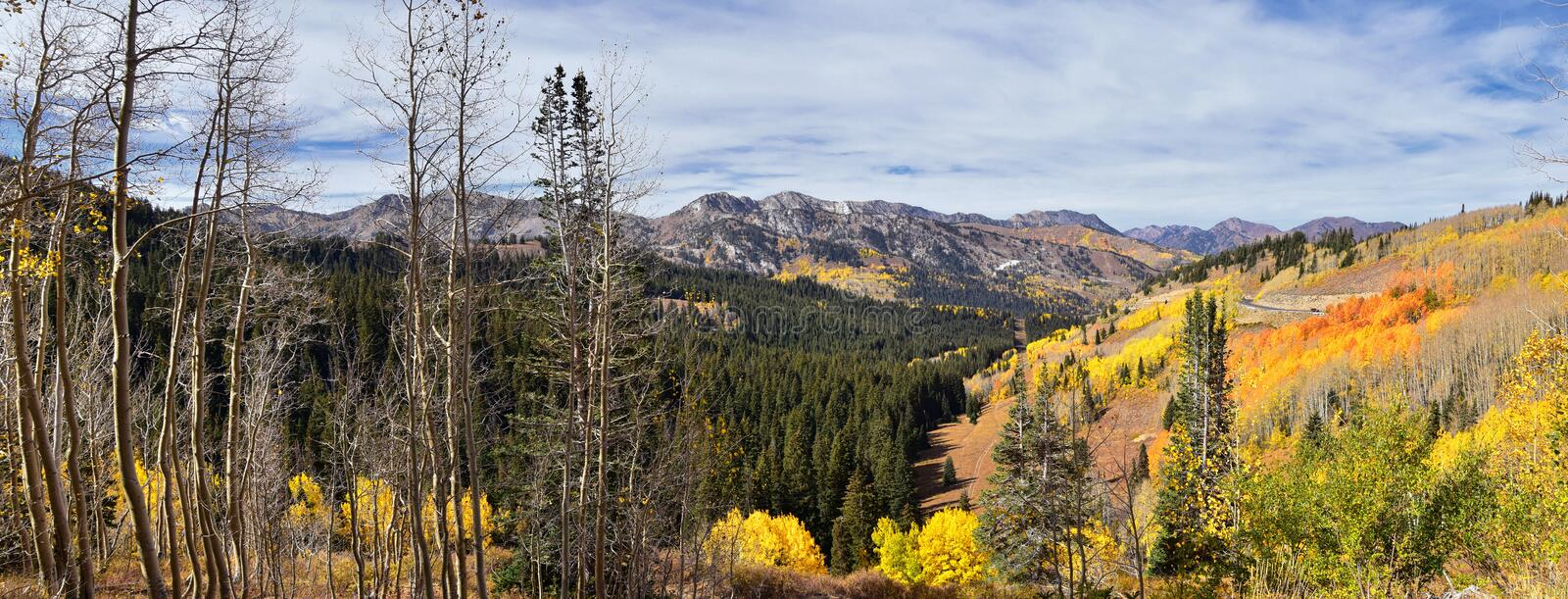 Guardsman Pass views of Panoramic Landscape of the Pass from the Brighton side by Midway and Heber Valley along the Wasatch Front. Rocky Mountains, Fall Leaf stock photography
