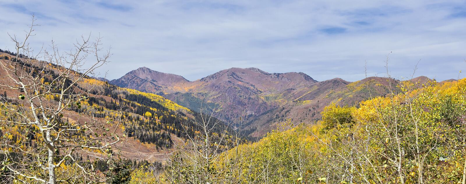 Guardsman Pass views of Panoramic Landscape of the Pass from the Brighton side by Midway and Heber Valley along the Wasatch Front. Rocky Mountains, Fall Leaf stock image