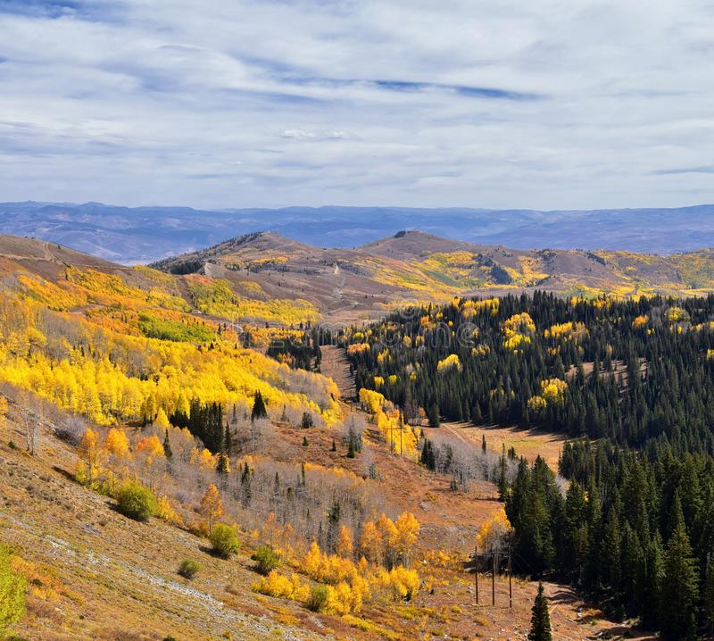 Guardsman Pass views of Panoramic Landscape of the Pass from the Brighton side by Midway and Heber Valley along the Wasatch Front. Rocky Mountains, Fall Leaf stock photos