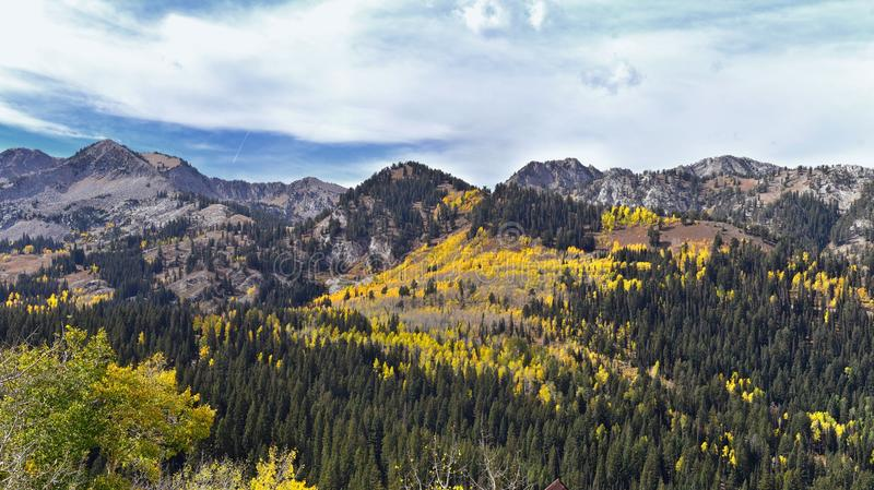 Guardsman Pass views of Panoramic Landscape of the Pass from the Brighton side by Midway and Heber Valley along the Wasatch Front. Rocky Mountains, Fall Leaf stock photo